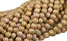100 ROSE GOLD LUSTER CZECH GLASS ROUND MELON BEADS 5MM