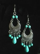 Earrings Turquoise Silver Hippie Bohemian Ethnic Boho Tribal Belly Dance Gypsy