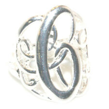 Silver Initial C  Lace Monogram Script Personalized Jewelry Stretch Ring Sz6 - 8