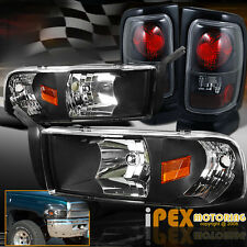 For 1994-2001 Dodge Ram 1500 2500 3500 Headlights W/ Signals + Tail Lights Black