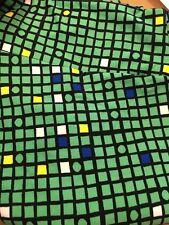 LulaRoe Green Black Blue Yellow Squares Circles Geometric TC Leggings