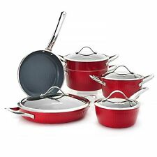 Todd English Nantucket Collection Ceramic Nonstick 10-Piece Cookware Set Red NEW