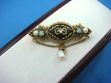 !UNIQUE ANTIQUE 14K GOLD BROOCH WITH PEARLS, OPALS, ONYX AND DIAMOND 6.8 GRAMS
