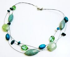 Silpada 925 Silver Amazonite Howlite Floating Necklace 40.2g #1017