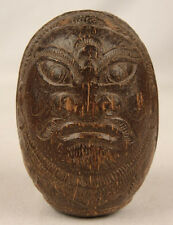ANTIQUE SOUTH PACIFIC ISLAND OLD HAND CARVED MAORI WARRIORS FACES COCONUT SHELL
