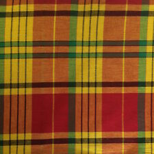 100% Cotton Madras Plaid Fabric By the Yard Yellow Orange Red (Style 320)
