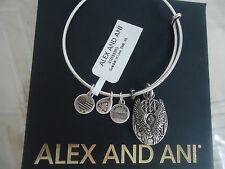 Alex And Ani GUARDIAN OF LOVE Russian Silver Charm Bangle New /Tag Card & Box