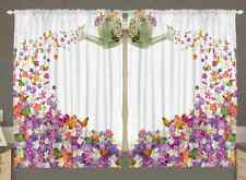 Flowers Kitchen CURTAIN PANEL Set Butterflies Watering Can Spring Window Decor