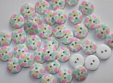 40 x 15MM HEART 2 HOLE WOODEN, SEWING BUTTONS, CRAFT ETC.,