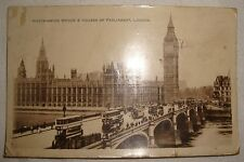 Vintage Postcard, 1920, RP view of Westminster Bridge & Houses of Parliament