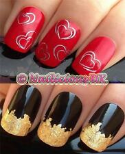 NAIL ART SET #134 SILVER LOVE HEARTS WATER TRANSFERS/DECALS/STICKERS & GOLD LEAF