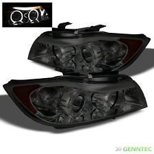 For Smoked 06-08 BMW E90 3-Series 4 Door Twin Halo Projector Headlights Sm Pair