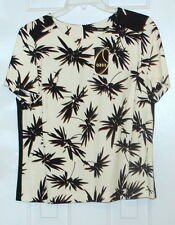New Womens Oasis Blouse Top Floral Uk 14 Us 10 Short sleeve Ivory Black