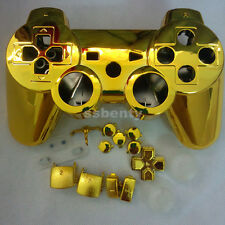 For PS3 Wireless Controller Shell Case Chrome Gold Hydro Dipped repair mod kit