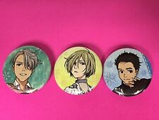 Yuri on Ice 3 Button SET Yuri Katsuki, Victor Nikiforov, Yuri Plisetsky pins