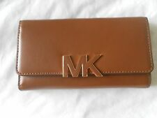 NEW AUTH MICHAEL KORS FLORENCE 35F5GREE3L LUGGAGE LG  LEATHER WOMENS WALLET.