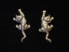 """JJ"" Jonette Jewelry Bronze Pewter 'Climbing Cat' Pierced Earrings"