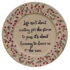 DANCE IN THE RAIN WOODEN PLATE 9.50 IN PRIMITIVE COUNTRY FARMHOUSE TABLETOP