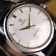 Authentic Omega Seamaster White Dial Gold Hands Automatic Mens Wrist Watch