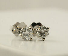 3 Prong Martini VVS2 Diamond Stud Earrings 3/4 Ct 14K White Gold Retail $5,200