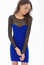 FOREVER 21 Mesh Paneled Long sleeves Bodycon Dress ROYAL BLUE SMALL