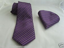 "(18) 100% SILK Purple ( Interwoven ) Necktie and Hankie Set-TIES-3.5""= 9cm Width"