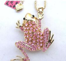 Cute NWT Betsey Johnson Necklace Pink Gold  Tree �� Frog Sparky Adorable
