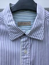 """TED BAKER WHITE SHIRT SIZE 4 16"""" COLLAR MAUVE & GREEN STRIPES LONG SLEEVES"""