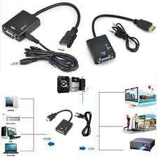 HDMI Male to VGA With Audio HD Video Cable Converter Adapter 1080P for PC black