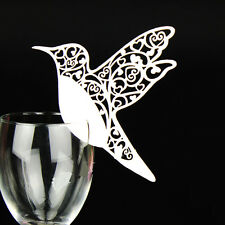 50Hummingbird Wedding Name Place Cards For Wine Glass Laser Cut Pearlescent Card