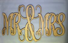 "18"" Wooden Interlocking Vine Monogram  Mr & Mrs Unfinished Letters Birch Wood"