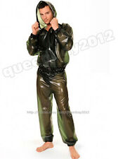 B-Trans 100% Latex Rubber Gummi Jacket Pants Trousers Catsuit Suit Hood Raincoat
