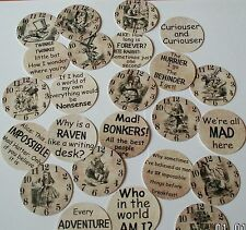 """24 Alice In Wonderland Quotes & Clocks 2"""" Round - Table Decorations Card Making"""
