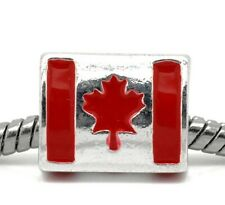 Red Canadian Flag Canada Maple Leaf Bead fits Silver European Charm Bracelets