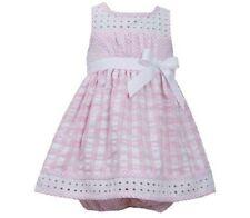 Bonnie Jean Girls Pink White Eyelet Seersucker Spring Summer Dress Size 24M New