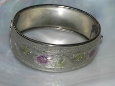Vintage Wide Purple & Green Accented Floral Etched Silvertone Hinged Bangle Brac