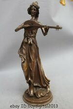"""19"""" Chinese Western Copper Art Stand Sexy Nude Woman Lady Belle pipa Lute Statue"""