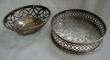 VINTAGE GOOD QUALITY ENGLISH SILVER PLATE WINE BOTTLE COASTER STAND SMALL BOWL