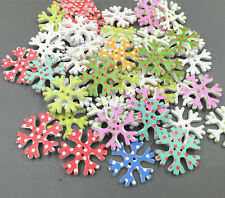 20X  Christmas Wooden snowflake shape Dot Sewing buttons scrapbooking Craft 25mm