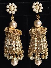 Vintage Miriam Haskell Extra Long Chandelier Earrings~Pearls/Rhinestones~Signed