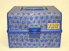 Vintage Sassaby Makeup Cosmetic Train Travel Case Organizer Blue Fabric