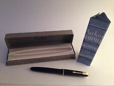 1960s Parker Duofold Fountain Pen Made in England Cobalt Blue 14K Nib Box Papers