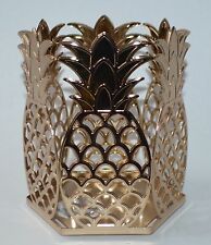 NEW BATH & BODY WORKS GOLD PINEAPPLES METAL LARGE 3 WICK CANDLE HOLDER 14.5 OZ