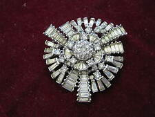 "c. 1930s PENNINO RHINESTONE RHODIUM PLATED Star Circle 2"" Brooch, Baguettes + +"