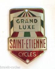 """Plaque de cadre """"CYCLES GRAND LUXE"""" St Etienne, 1950/60's NEUVE/NOS headbadge."""