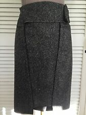 ROLAND MOURET RUNWAY RARE GREY WOOL & SILK TWEED PENCIL SKIRT SIZE 6