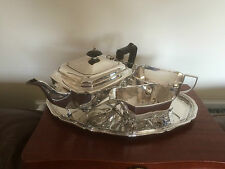 3 PIECE SILVER PLATED TEA SERVICE ON 4PAD FEET & A SILVER PLATED TRAY (REF 765)