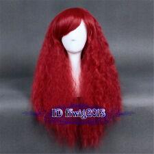 Rhapsody 70cm Long curly wave fluffy deep red Lolita cosplay wig +a wig cap