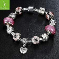 Pink Murano Beads Bracelets With European Charm Pink Crystal Fit Women Christmas