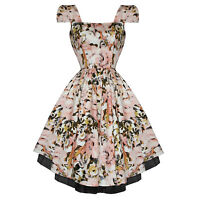 Hearts & Roses London New Blush Floral Print Vintage 50s Party Prom Swing Dress